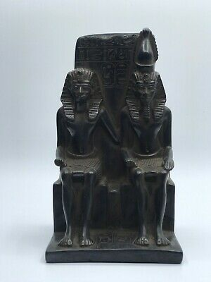 EGYPTIAN ANTIQUES RAMESSES II STATUE and Wife Queen Nefertari EGYPT STONE BC