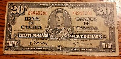 1937 CANADA $20 DOLLAR BANK NOTES, Paper Bill, Money, King George