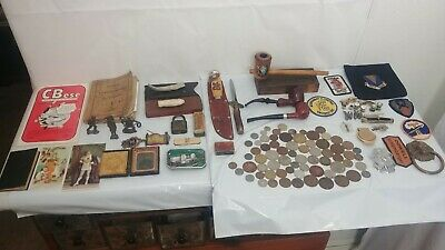 Junk Drawer Over 4 Lbs. 1800's to 1900's Assorted Items, Coins, Photo, Knives, +