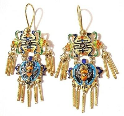 Chinese Silver Gilt BAT Dangle Earrings New Old Stock Cloisonne Enamel Shou Luck