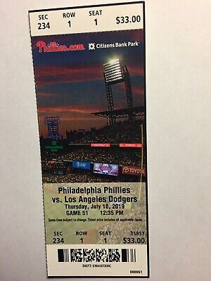 Philadelphia Phillies Vs Los Angeles Dodgers July 18, 2019 Ticket Stub