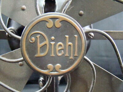 Antique Diehl Electric Fan Brass Blade & Guard Cage Early 30V Direct Current osc