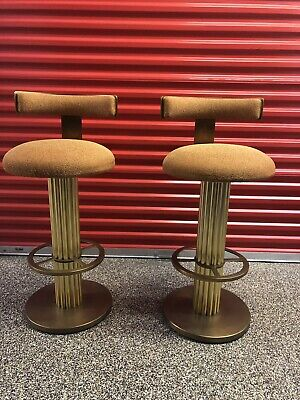 Designs For Leisure 2 Brass Reeded Column Swivel Bar Stools