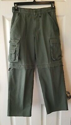 Boy Scouts BSA Youth 8 Switchback Uniform Pants Shorts Zip Off Cargo Green