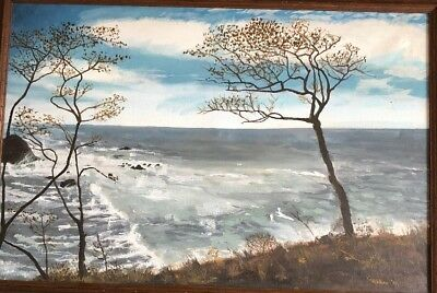 "Vintage Signed  Cwalker  Oil Painting on Board OCEAN/SEASCAPE  FRAMED 40""X28"""