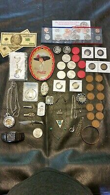 Junk Drawer Lot Silver Coins Vintage Casino Sterling Silver Jewelry Us Mint Sets