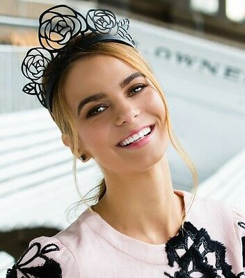 Morgan And Taylor Black Leather Laser Cut Roses Flower Crown Fascinator Races