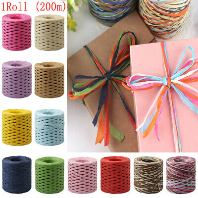 1Roll 200M Box Packing Raffia Ribbon Baking Paper Rope Handmade Wrapping