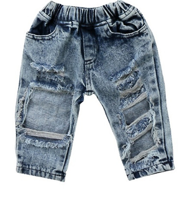 AU Newborn Baby Girls Ripped Holes Denim Pants Jeans Casual Long Trouser Clothes