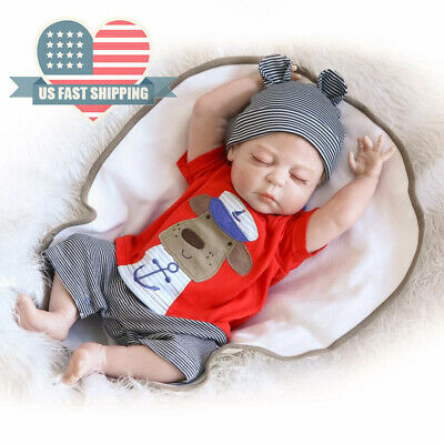 "Realistic Newborn Boy 22"" Full Silicone Body Reborn Baby Dolls Washable Baby Toy"