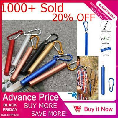 Drinking Straws Reusable Telescopic Stainless Steel Metal Straw Foldable +Brush