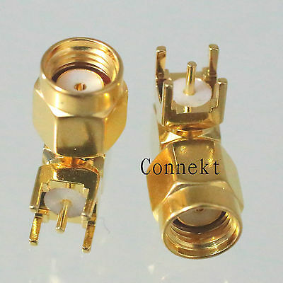 1pce RP-SMA male JACK PIN right angle solder for PCB mount RF connector