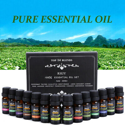 100% Pure Natural Essential Oils Set of 14 Plant Aromatherapy Kit 10ml Gift