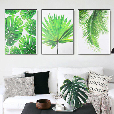 Green Plant Leaf Canvas Nordic Poster Wall Art Print Picture Modern Home