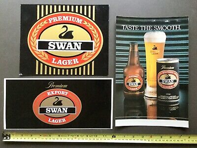 Swan Premium Lager. Original Stickers / Decal. x 2 + 1 Sign.