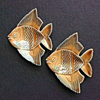 Vintage PAIR ANGEL FISH porcelain dishes 50s 60s retro wade cocktail ashtrays