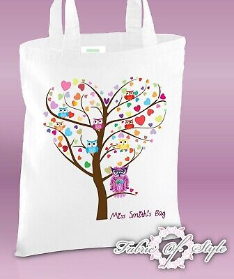PERSONALISED Tote Bag Thank You Teacher School Gift 2019 Heart Tree Design White
