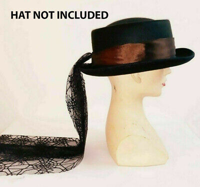 Victorian-Edwardian-Steampunk-Gothic-Dressage HAT BAND VEIL WITH MESH TAIL