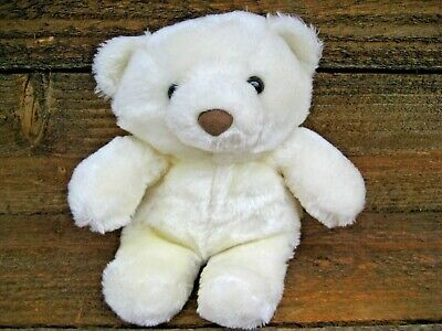 """Teddy Bear 7-1/2"""" Sitting Vintage 1980s Cream White Color  - Needs A Loving Home"""