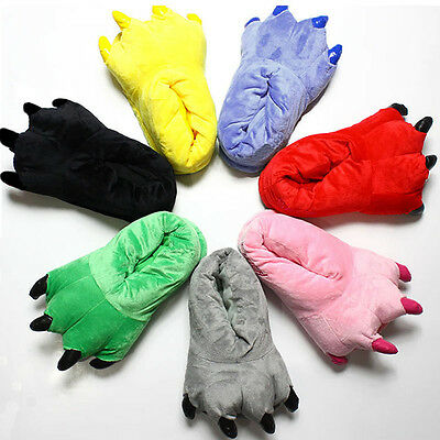 Soft Plush Slippers Unisex Adult Kids Shoes Animals Monster Dinosaur Claw Winter