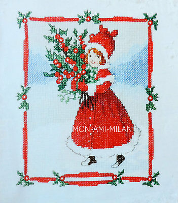Cross Stitch Chart CHRISTMAS GIRL with BERRIES Flora White Illustration FESTIVE