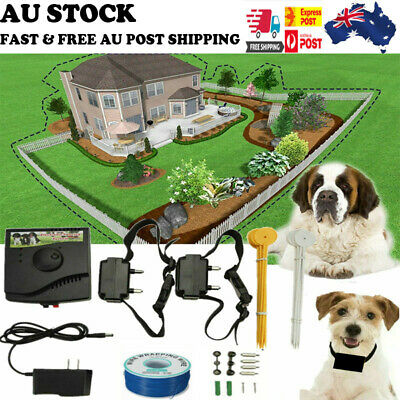 Electronic Dog Pet Fence System 1/2 Wireless Collar Hidden System Waterproof New