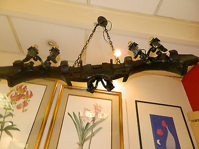 Vintage French Wooden Wrought Iron Chandelier/ Ceiling Light - Double Ox Yoke