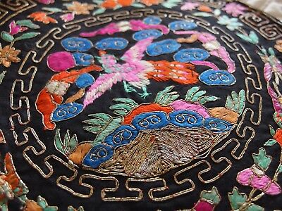 Vintage Antique Chinese silk hand embroidery rank badge