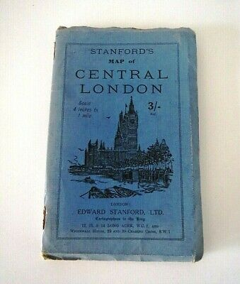 Antique 1927 Stanford's map of Central London  72 x 53 cm - Fabric backing