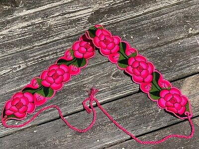 Faja Mexican Belt Embroidered Cotton Deep Pink Chiapas 30x60 ties V6
