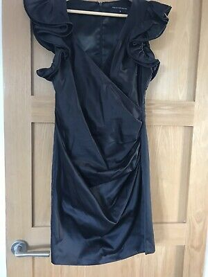 french connection Navy Blue Frilled Sleeves Mock Wrap Dress