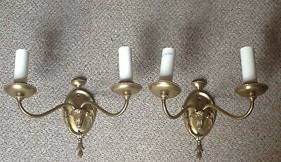 Pair Of Vintage Solid Cast Brass Wall Lights, Two Branch Light Fittings