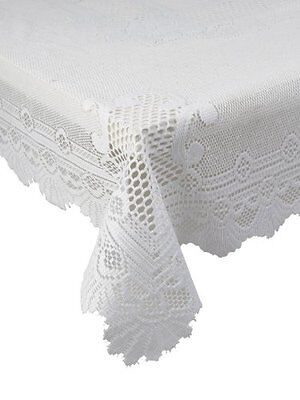 "White Heavy Lace Rose Scallop Stain Release Table Cloth 60""X 90"" Oblong £13.69"
