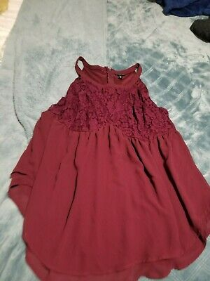 Torrid Women's Plus Shirt Blouse Top burgundy wine tank lace size 2