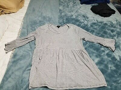 Torrid Women's Plus Shirt Blouse Top black and white babydoll size 1
