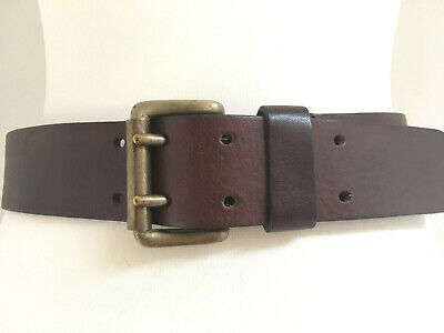 "Vintage strong brown leather belt, brass buckle double pins 28.5""- 32.5"" x 4.5cm"