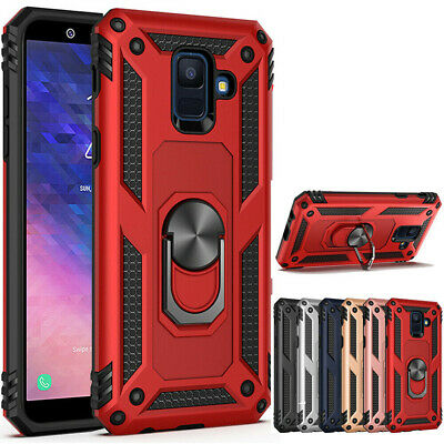For Samsung Galaxy A6/J4/J6 Plus Hybrid Shockproof Armor Ring Holder Stand Case