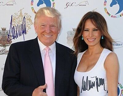 RARE Autographed President Trump And First Lady Melania Glossy 8x10 Photo Print