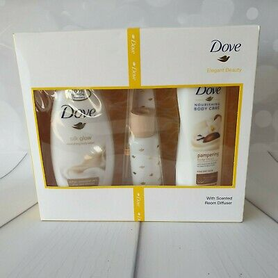 Dove Elegant Beauty Gift Set with Body Wash & Lotion + scented room diffuser new
