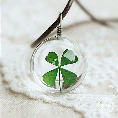 Real Dried Flower Lucky Four Leaf Clover Pendant Glass Necklace Pendant Jewelry