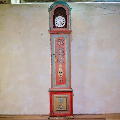 Antique 18th Cent Painted Portuguese Hand Painted Longcase Clock Grandfather
