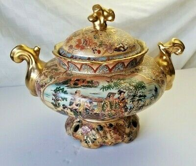 BEautiful! SATSUMA SOUP TUREEN Japanese Porcelain GREAT DETAILS Unmarked HEAVY