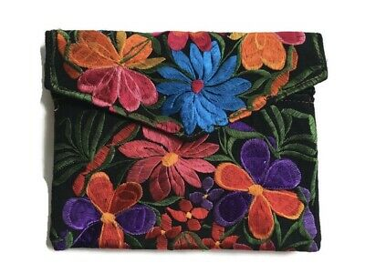 Handmade Mexican Embroidered Clutch Purse Envelope Style Floral Handbag