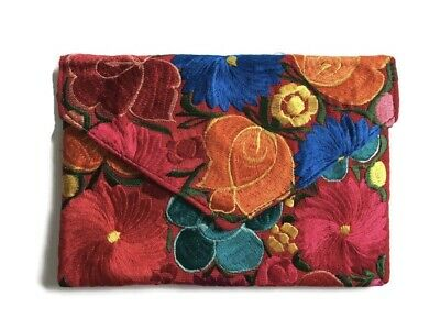 Handmade Mexican Embroidered Clutch Crossbody Bag Envelope Style Floral Handbag