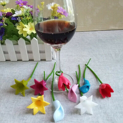 6pcs Flowers Wine Cup Marker Silicone Wine Glass Label Glass Cup Recognizer 3T
