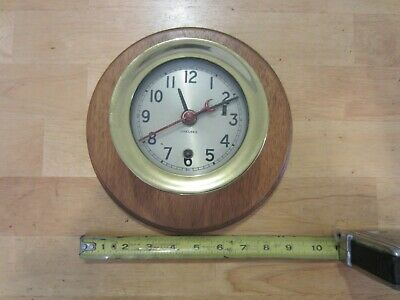 "Vintage 5 1/4"" Brass Chelsea Clock Nautical on wall base with key"