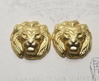 Small Raw Brass Lion Head Stampings (2) - RAT132