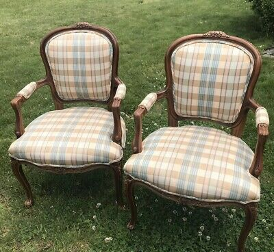 Pair of French Louis XV Style Arm Chairs