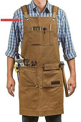 Luxury Waxed Canvas Shop Apron | Heavy Duty Work Apron For Men  Women With Pock