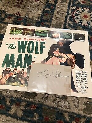Lon Chaney Jr. Autograph - The Wolf Man - Joan Caulfield Signed